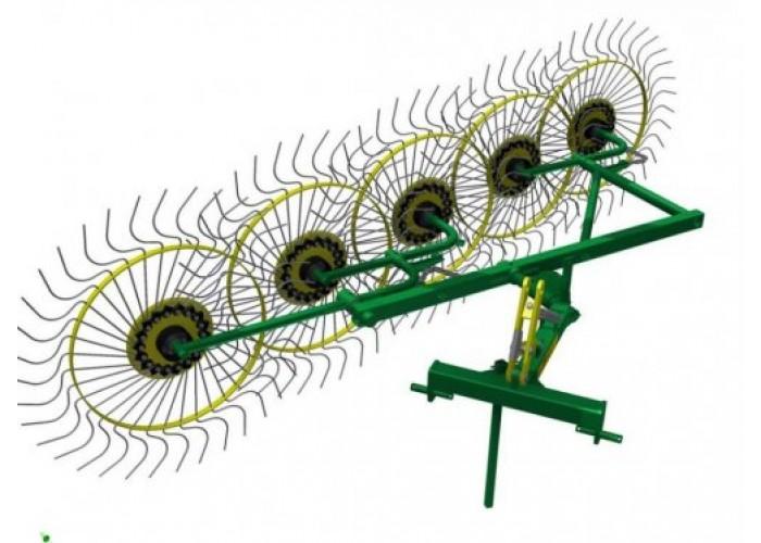 Колесно пальцевые грабли ворошилки «Солнышко» (5 колес) - Фото 1